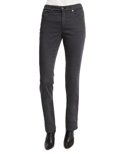 Five-Pocket Stretch Skinny Jeans, Gray
