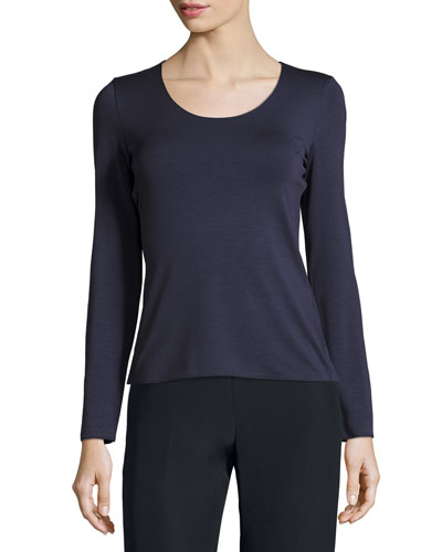 Scoop-Neck Long-Sleeve Tee, Indigo Blue