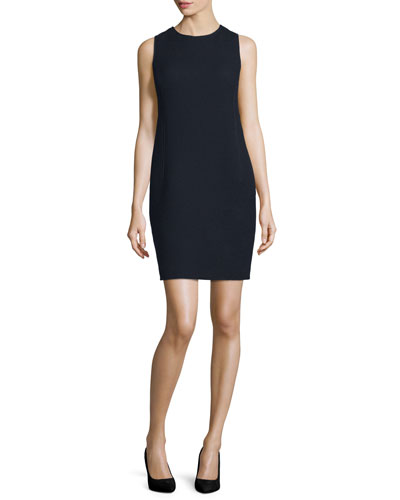 Sleeveless Textured Sheath Dress, Night Blue