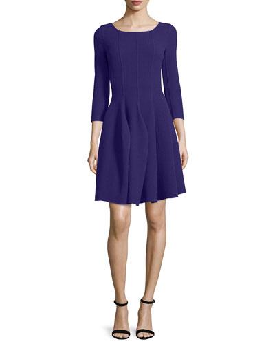3/4-Sleeve Godet-Pleated Dress, Imperial Purple