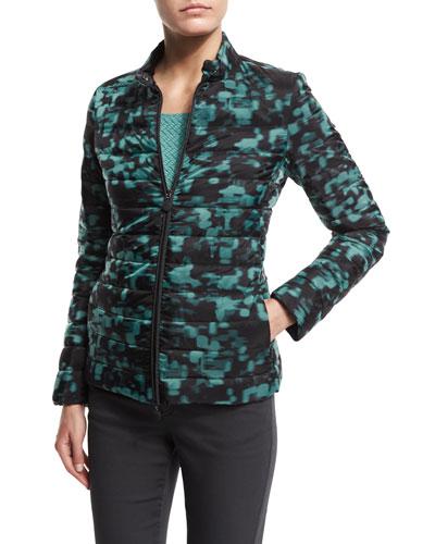 Zip-Front Puffer Jacket, Mint Green