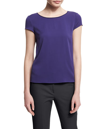 Cap-Sleeve Round-Neck Silk Blouse, Imperial Purple