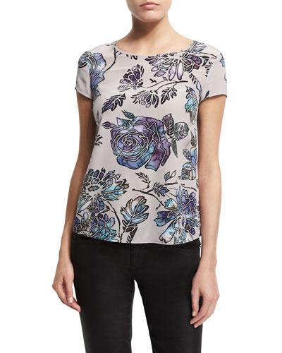 Short-Sleeve Floral-Print Blouse, Multi Colors