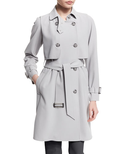 Calvary Double-Breasted Trenchcoat, Pearl Gray