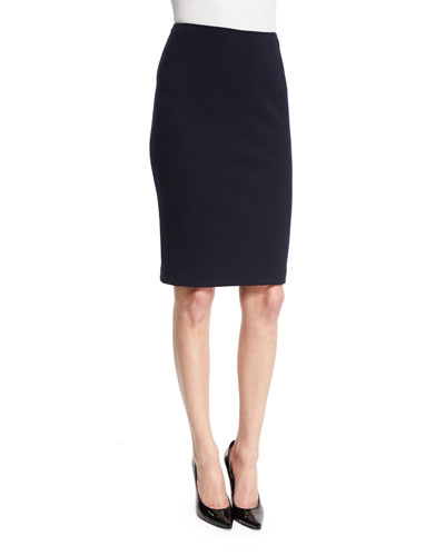 High-Waist Jersey Pencil Skirt, Midnight Blue