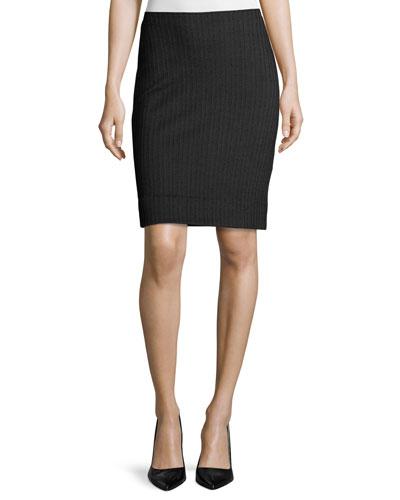Mini-Herringbone Pencil Skirt, Brown/Multi