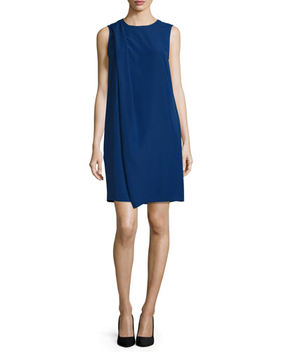 Sleeveless Drape-Front Shift Dress, Royal Blue