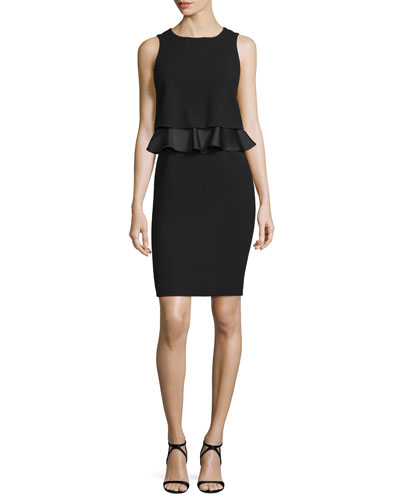 Sleeveless Popover Sheath Dress W/Peplum, Black