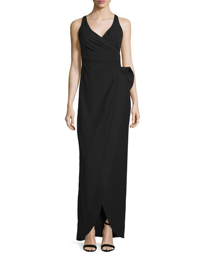 Sculpted-Waist Column Gown, Black