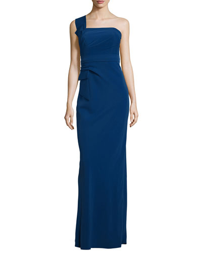 One-Shoulder Bow Gown, Royal Blue