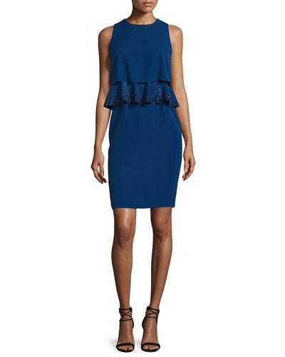 Embroidered-Peplum Popover Dress, Royal Blue