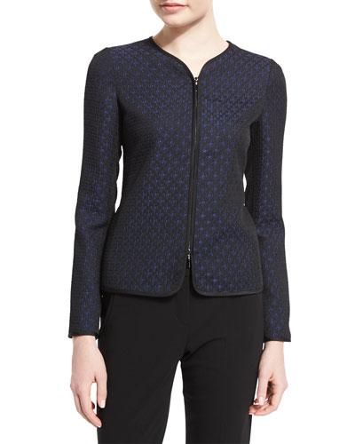 Zip-Front Slim-Fit Star Jacquard Jacket, Royal Blue