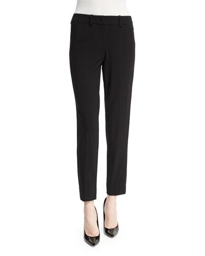 Slim-Leg Stretch-Wool Ankle Pants, Black