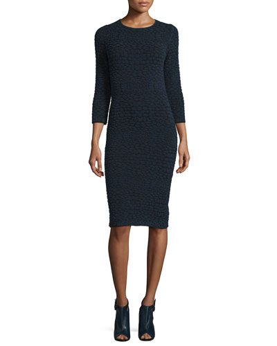 3/4-Sleeve Animal-Print Dress, Spectrum Blue