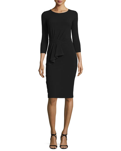 3/4-Sleeve 1/2-Peplum Dress, Black