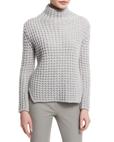 Popcorn-Knit Turtleneck Side-Split Sweater, Silver Gray