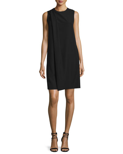 Sleeveless Drape-Front Shift Dress, Black