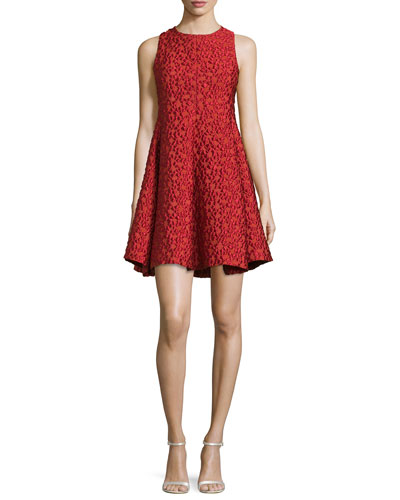 Textured Fit-&-Flare Dress, Matisse Red