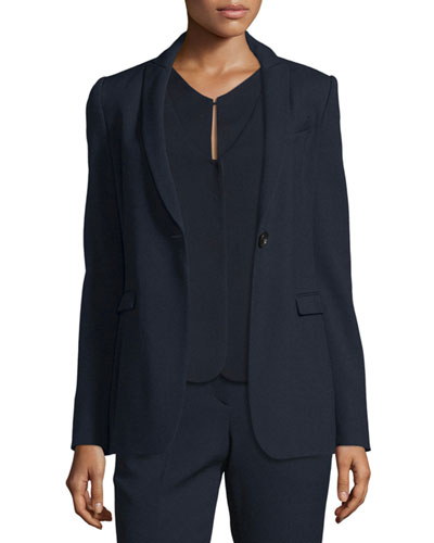 Textured One-Button Jacket, Navy Blue