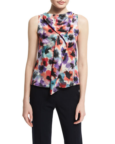 Sleeveless Draped Floral-Print Silk Blouse, Multi Colors