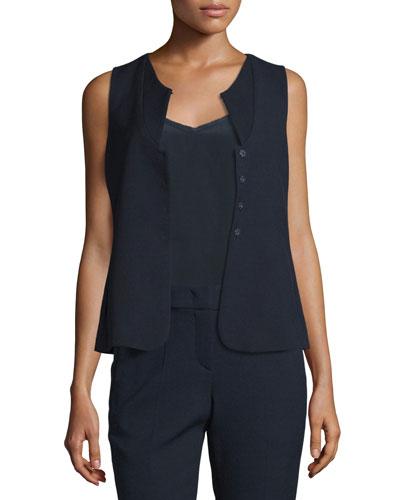 Textured Stretch-Wool Vest, Navy Blue