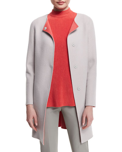 Snap-Front Long Wool/Cashmere Coat, Silver Gray