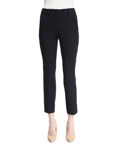 Slim-Leg Stretch-Wool Ankle Pants, Navy Blue