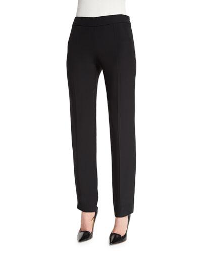 Side-Zip Slim-Leg Cady Pants, Black