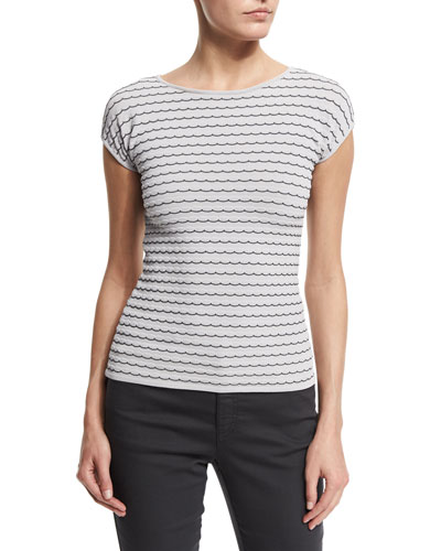 Cap-Sleeve Bicolor-Piping Top, Antique White