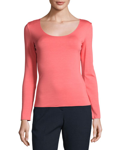 Long-Sleeve Scoop-Neck Tee, Matisse Red