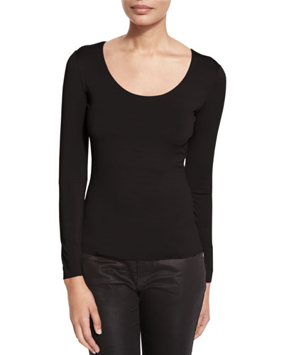 Scoop-Neck Long-Sleeve Tee, Black