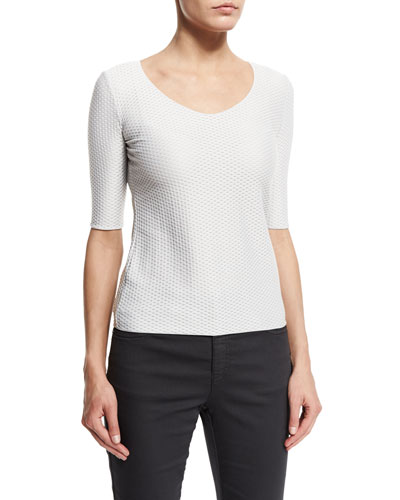 3/4-Sleeve Scoop-Neck Tee, White
