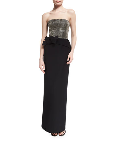 Strapless Embellished-Bodice Column Gown, Black