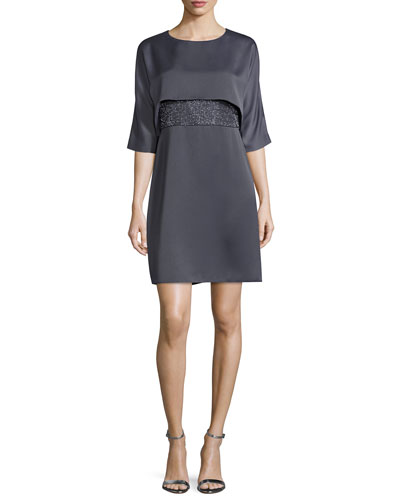 Half-Sleeve Embroidered Dress, Slate