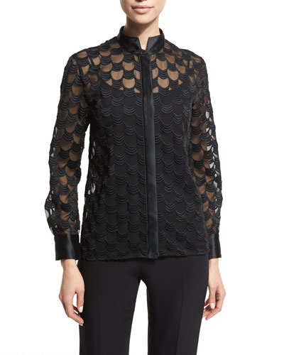 Embroidered Georgette Blouse, Black