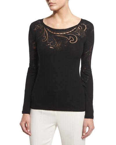 Long-Sleeve Tattoo T-Shirt, Black