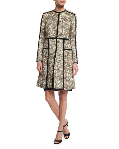 Long-Sleeve Floral-Print Topper Coat, Ivory/Gold