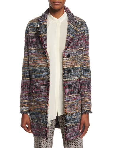 Three-Button Fringe-Trim Topper Coat, Purple/Multi