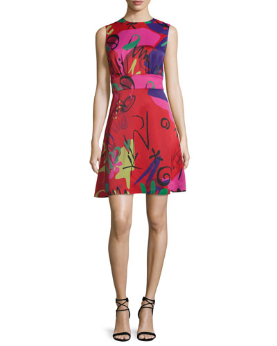 Sleeveless Graffiti-Print A-Line Dress, Red/Pink