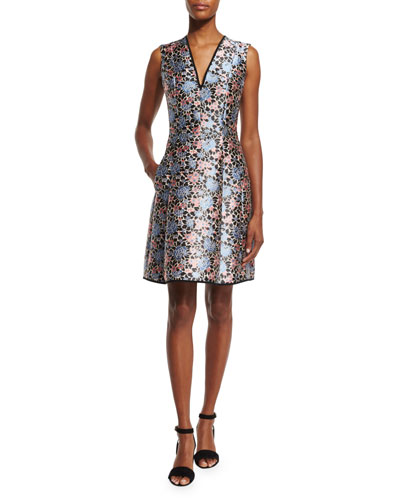 Sleeveless Floral-Print Fit-and-Flare Dress, Blue/Pink