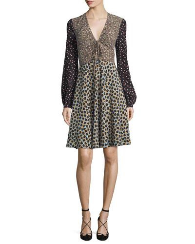 Bishop-Sleeve Snow Leopard Print Dress, Blue/Black