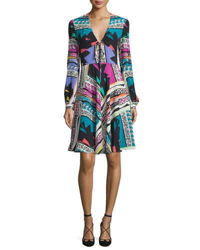 Bishop-Sleeve Mixed-Print Dress, White/Multi