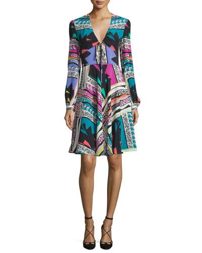 Bishop-Sleeve Mixed-Print Dress, White/Multi