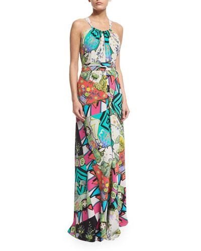 Halter-Neck Arcade-Print Gown, Turquoise/White