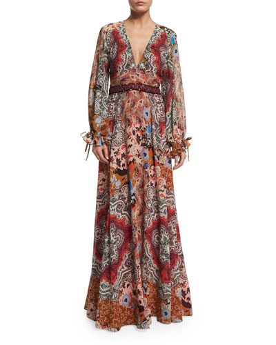 Embellished-Waist A-Line Gown, Blue/Camel