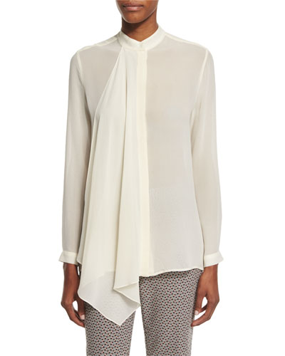 Long-Sleeve Cascade-Front Blouse, Ivory