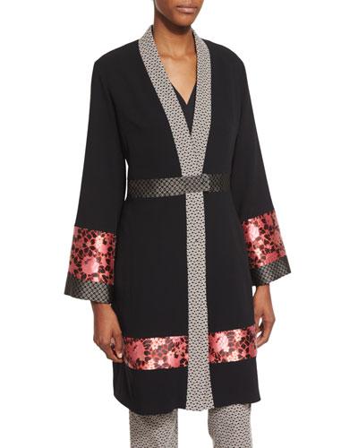 Long-Sleeve Kimono Topper Coat, Black