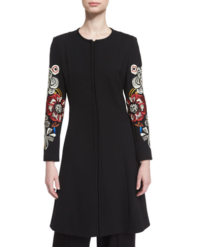 Flared Topper Coat w/Embroidered Sleeves, Black