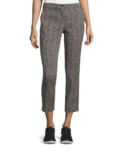 Bark-Print Slim-Leg Capri Pants, Black