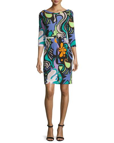 3/4-Sleeve Graffiti & Paisley Print Dress, Green